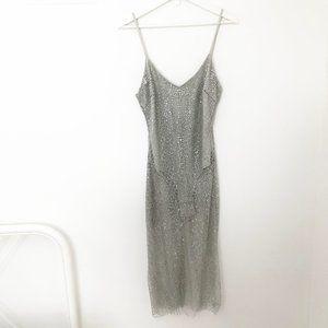 Stunning Sexy Silver Sparkle Sheer Midi Dress S/M